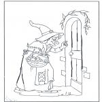 Allerhand Ausmalbilder - Die Hexe klopft an
