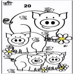 Malvorlagen Basteln - Die Schweine zählen
