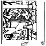 Bibel Ausmalbilder - Diorama David und Saul