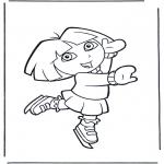 Ausmalbilder für Kinder - Dora auf Schlittschuhe
