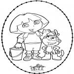Basteln Stickkarten - Dora basteln