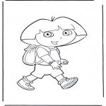 Ausmalbilder für Kinder - Dora mit rucksack