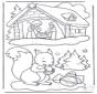 Eichhorn und Weihnachtskrippe