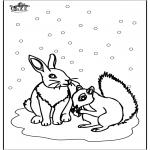 Malvorlagen Winter - Eichhörnchen und Kaninchen