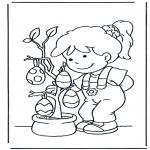 Ausmalbilder Themen - Eier im Baum