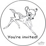 Malvorlagen Basteln - Einladung  Bambi