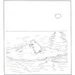 Ausmalbilder Tiere - Eisbär auf Scholle