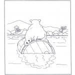 Ausmalbilder Tiere - Eisbär auf Tonne