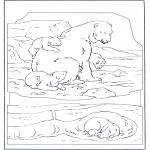 Ausmalbilder Tiere - Eisbär mit Jung