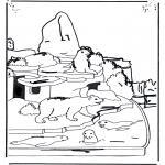 Ausmalbilder Tiere - Eisbär und Seelöwe