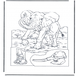 Ausmalbilder Tiere - Elefant 1