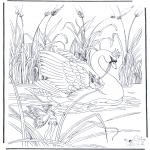 Allerhand Ausmalbilder - Elfen auf Schwan