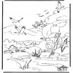 Bibel Ausmalbilder - Elija und die Raben