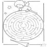 Malvorlagen Basteln - Engelchen Labyrinth
