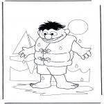 Ausmalbilder für Kinder - Ernie mit Wasser