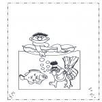 Ausmalbilder für Kinder - Ernie und Bert am Meer