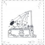 Ausmalbilder für Kinder - Ernie unter der Dusche