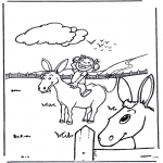 Allerhand Ausmalbilder - Esel mit Mädchen