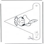 Basteln Stechkarten - Fahne Peter