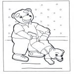 Ausmalbilder für Kinder - Familie Bär