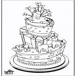 Ausmalbilder Themen - Feier-Kuchen