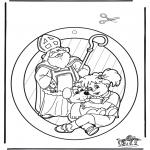 Basteln Stechkarten - Fenster Hänger Sankt Nikolaus 3