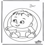 Malvorlagen Basteln - Fensterhänger Baby
