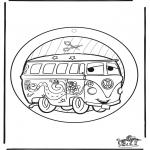 Malvorlagen Basteln - Fensterhänger Cars