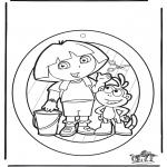 Malvorlagen Basteln - Fensterhänger Dora 1