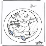 Malvorlagen Basteln - Fensterhänger Dora 2