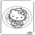 Malvorlagen Basteln - Fensterhänger Hello Kitty