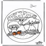 Malvorlagen Basteln - Fensterhänger Pilze