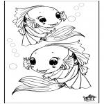 Ausmalbilder Tiere - Fisch 3