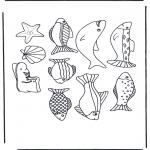 Malvorlagen Basteln - Fische Mobile