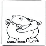 Ausmalbilder Tiere - Flusspferd 2