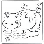 Ausmalbilder Tiere - Flusspferd im Wasser