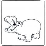 Ausmalbilder Tiere - Frohes Flusspferd