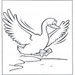 Ausmalbilder Tiere - Gans fliegt