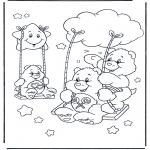 Ausmalbilder für Kinder - Glückbärchen Schaukeln