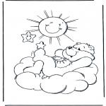 Ausmalbilder für Kinder - Glückbärchen Sonne
