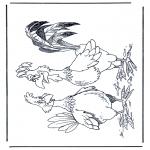 Ausmalbilder Tiere - Hahn und Henne