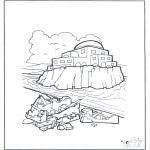 Bibel Ausmalbilder - Haus auf Sand und Fels