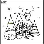 Malvorlagen Winter - Haus im Schnee 2