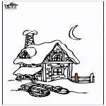 Malvorlagen Winter - Haus im Schnee 3