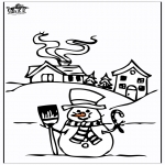 Malvorlagen Winter - Haus im Schnee 4