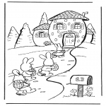 Ausmalbilder Themen - Haus vom Osterhase