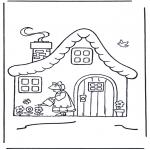 Ausmalbilder für Kinder - Häuschen mit Blumen