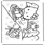 Ausmalbilder Comicfigure - Hello Kitty im Schnee