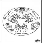 Malvorlagen Mandalas - Herbst Mandala 1
