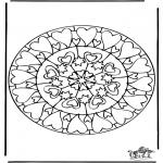 Malvorlagen Mandalas - Herzen Mandala 6